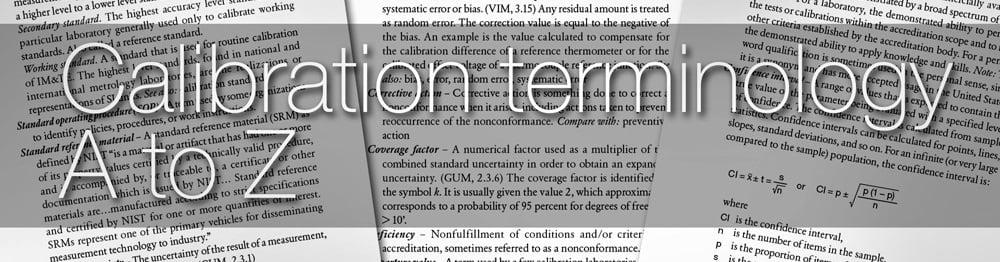 Calibration terminology
